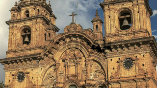 CUSCO, PERU- JUNE 20, 2016: close shot of the church of the society of jesus in cusco