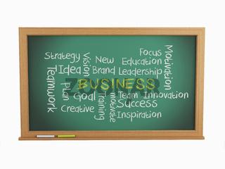 3d illustration. chalk keywords on chalkboard about business concept