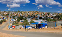Living in simple huts in Windhoek, Namibia