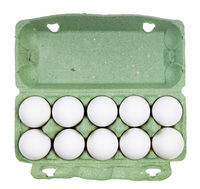 top view of ten white chicken eggs in green box