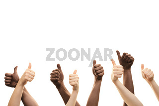 Group of multiracial hands. thumbs up isolated on white background