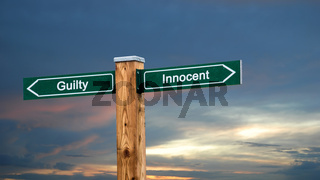 Street Sign Innocent versus Guilty