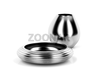 Silver vase and bowl