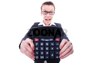 Funny accountant isolated on the white background