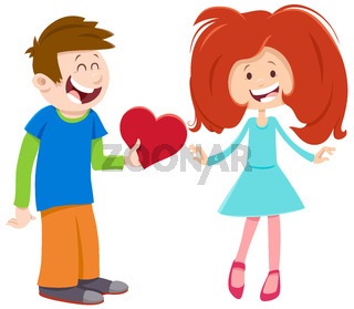 valentine card with comic girl and boy