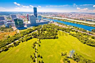 Vienna. Modern skyscrapers skyline and green landscape of Donaupark in Vienna,