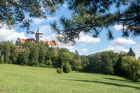 Smolenice Castle with gardens in foreground
