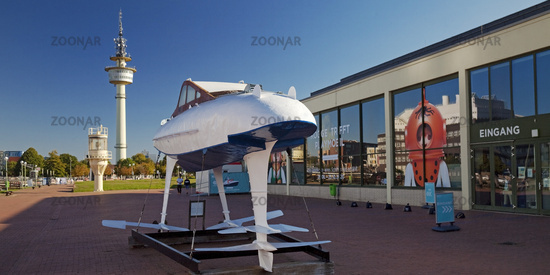 Hydrofoil WSS 10 in front of the entrance to the German Maritime Museum, Bremerhaven, Germany