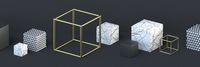 Abstract background golden wire, white marble and triangle pattern cubes 3D