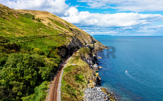 View from Cliff Walk Bray to Greystones with beautiful coastline and cliffs