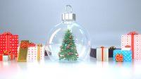 Christmas Tree Snow Globe Presents