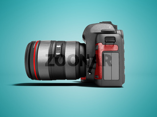 Modern gray zoom camera with red leather inserts on the side 3d render on blue background with shadow
