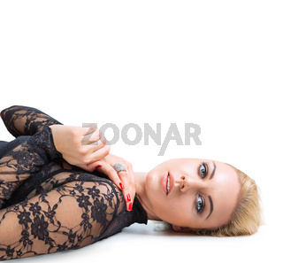 Beautiful young blonde woman with perfect skin studio close-up portrait