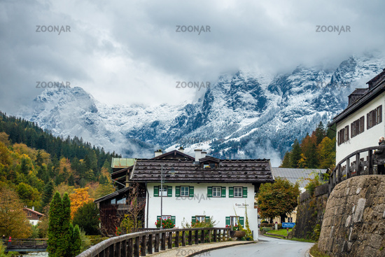 Road through the picturesque village of Ramsau in Berchtesgarden, Germany