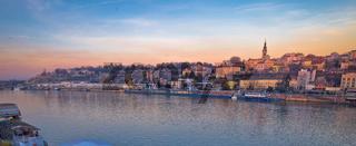 Belgrade Danube river boats and cityscape panoramic view