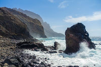 The beautiful beach Playa del Trigo near Alojera on the island La Gomera