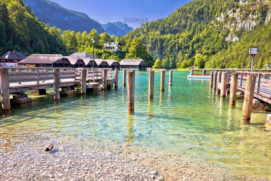Konigssee Alpine lake coastline view, Berchtesgadener Land