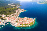 Korcula island. Historic town of Korcula aerial panoramic view