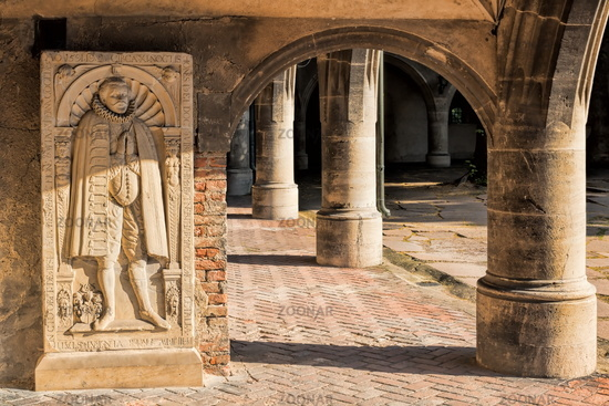 Halle Saale, Germany - 17.06.2019 - arcades with relief in the moritzburg