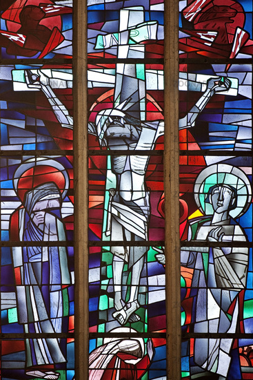 Stained glass window in the catholic parish church Sankt Petrus, Waltrop, Ruhr area, Germany, Europe