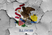 flag of Illinois painted on cracked wall
