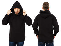 Man hoody set, black hoody front and back view, hood mock up. Empty male hoody copy space. Front and rear background
