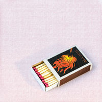 Matches in a box over canvas background
