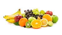 A heap of many different tropical fruits. Healthy food and nutrition, vegan lifestyle and organic fair trade concept.