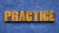 practice - word abstract in wood type