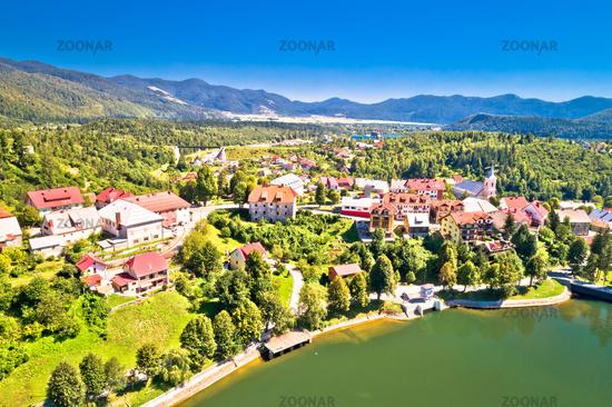 Idyllic mountain town of Fuzine on Bajer lake aerial view