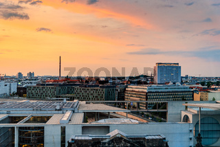 Panoramic cityscape of Berlin at sunset from the rooftop of the Reichstag