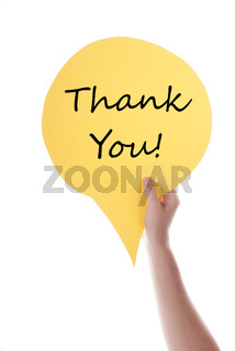 Yellow Speech Balloon With Thank You