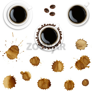 Coffee Cup And Coffee Paint With Isolated White Background