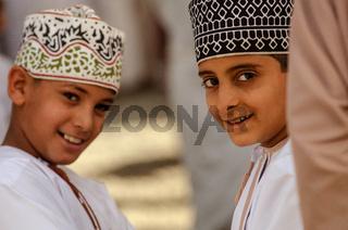 Young Omani boys, Nizwa Souk, Oman.