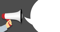 megaphone message template with speech bubble