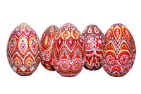 Easter eggs, hand-painted with acrylic paints, art