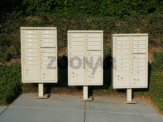 A Group of street postal mail boxes