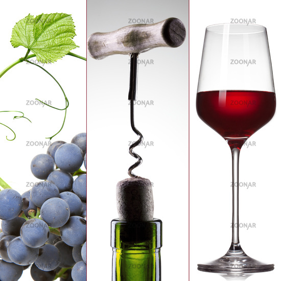 wine collage - grape, bottle and glass