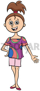 teen girl character cartoon illustration