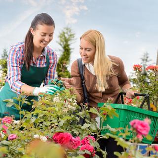 Garden center worker give advice woman customer