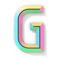 Neon color bright font Letter G 3D