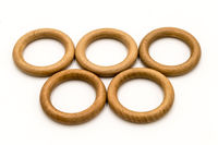 olympic ring in wooden circle on a white background
