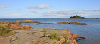 Rock formation and island in Vita Sannar, Sweden. Lake Vanern.