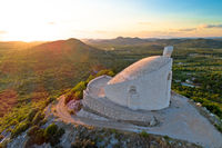 Okit hill church near town of Vodice aerial view,