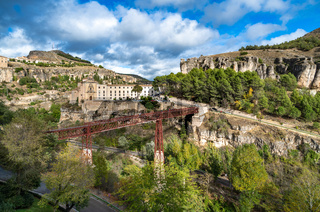 San Pablo Bridge and panoramic view of Cuenca, Spain.
