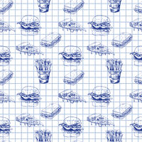 Hand drawn fast food pattern. Burger, pizza, french fries detailed illustrations. Great for school cafe menu or banner. Squared paper.