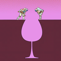 Astronauts on the edge . Glass of wine silhouette