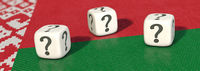 3D illustration, Three white dices with question marks on Belarus flag