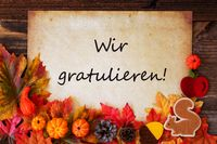 Old Paper With Wir Gratulieren Means Congratulations, Colorful Autumn Decoration