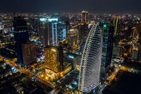 night scene of Taichung city with skyscrapers